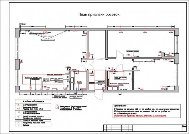 План привязки розеток и элкторооборудования