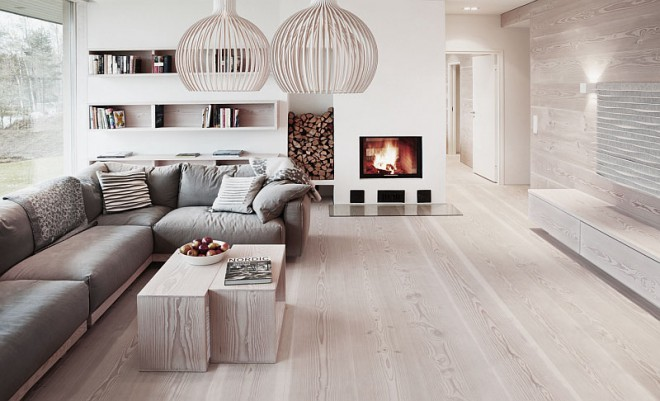 деревянный пол в скандинавском интерьере