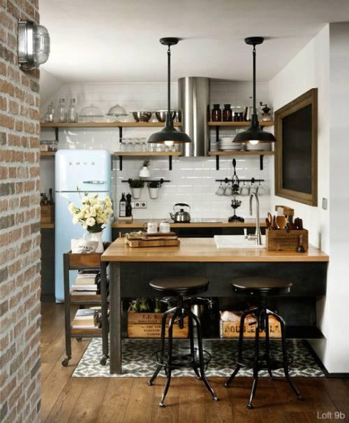 пример кухни мини-лофт