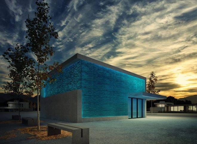 несущая стена из прозрачного бетона