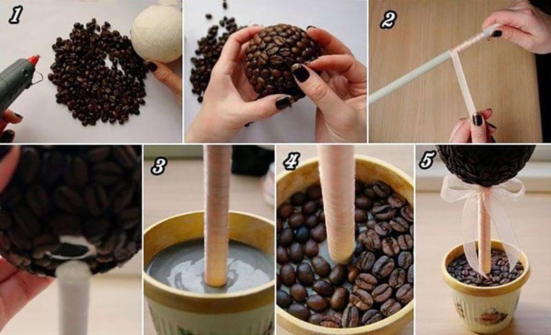 Кофейный топиарий пошагово
